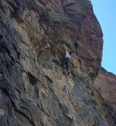 Rock Climbing Photo: Jean getting into the steeper upper section of Mor...