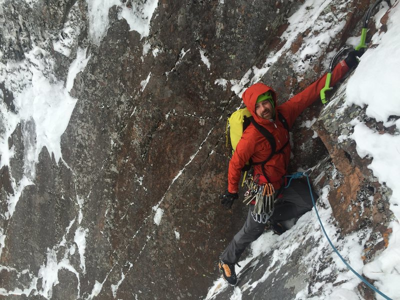 First winter ascent of the wall?  Kim & I climbed the direct start to BOS with an M5 grading.