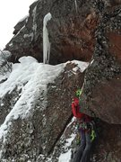 Rock Climbing Photo: climbing up the crux of the route, the short chimn...