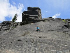 Rock Climbing Photo: Peek a Boo Tower. The West Face route goes left of...