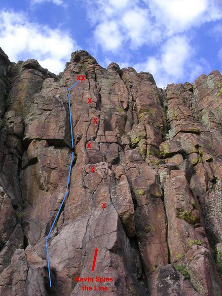 Rock Climbing Photo: Blue lines approximately show the line taken.
