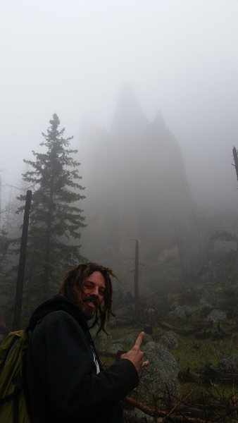 Hiking into the spires,  on a gloomy day after the storm