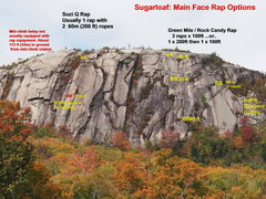 "Rock Climbing Photo: Established Rap Lines on Sugarloaf (NOTE: ""Ce..."
