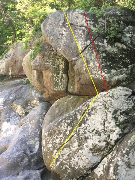 Follow the yellow line (for the starting traverse, feet are on the face but hand holds on top of the slab are on). FA done without holds right of the red dashed line.