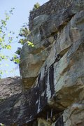 Rock Climbing Photo: The crux comes just after the Gargoyle chains. Onc...