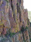 Rock Climbing Photo: Working up the arete on mellow yellow.