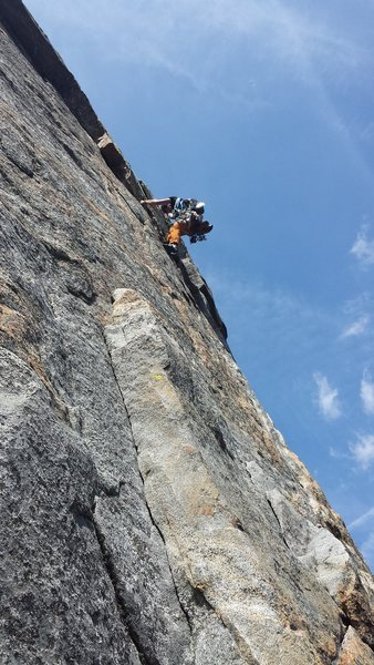San Luis Obispo based climber pulling the crux, 50 Crowded variation 5/7/2016