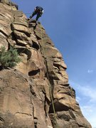 Rock Climbing Photo: Austin the Intern raps off Chapstick