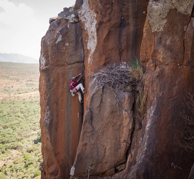 Rock Climbing Photo: The upper dihedral crux
