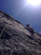 Rock Climbing Photo: Me leading the excellent sixth pitch (5.10d).  Pho...