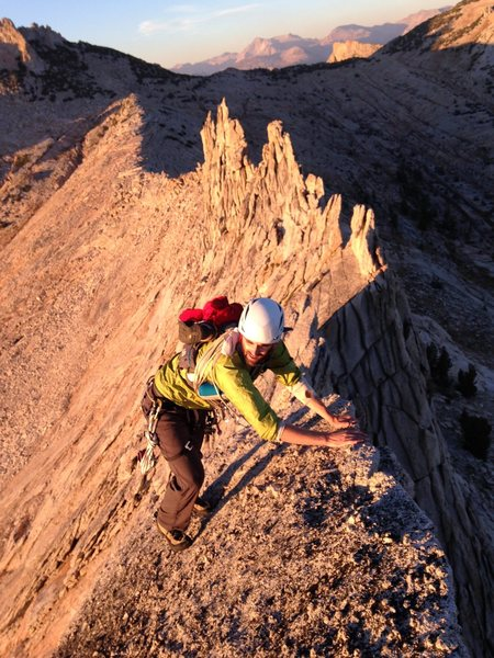 Soloing Matthes Crest in Tuolumne, fast and light.