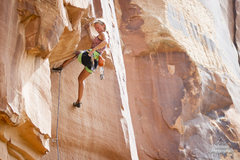 Rock Climbing Photo: Climber Brette Harrington hangs on a finger jam wh...
