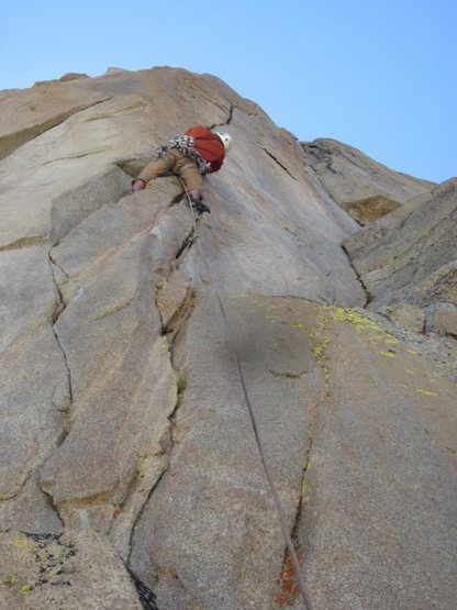 "Start of the 2nd crux pitch of ""Speed of Life"" (5.11b), Ellery Bowl"