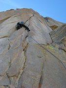 "Rock Climbing Photo: Climber beginning the 2nd crux pitch of ""Spee..."