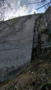 Rock Climbing Photo: Route from the base, gear in horizontal from an ea...