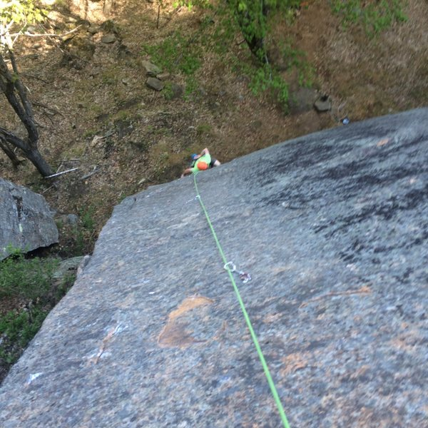 Rock Climbing Photo: Looking down from first belay on FFA