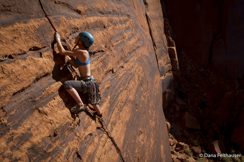 Rock Climbing Photo: Mary Eden sends after popping a cam on the crux. P...