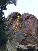 Rock Climbing Photo: 1. Calling All Karmas 5.12a/b 2.  Angle of Repose ...
