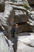 Rock Climbing Photo: Dede low on The Schnoz.