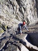Rock Climbing Photo: Ben on the 5.4 slab below Thunderbolt Peak on the ...