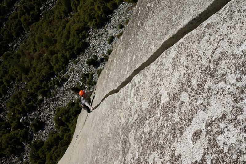 Cesar cruising up the last splitter pitch of the Serenity-Sons linkup.