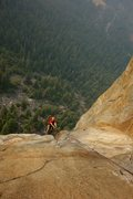 Rock Climbing Photo: John jugging up P8 of the West Face of Leaning Tow...