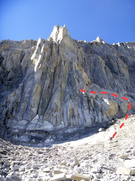 Our approach to the North Buttress of Mt Goode is shown with the red line.