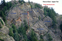 Rock Climbing Photo: Three Little Roofs is immediately to the left of U...