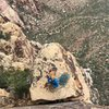 One heck of a nice ledge for the last pitch of Ginger Cracks.  I'm on the UG bolted variation, but the starting point is the same for the traditional GC finish.