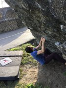 Rock Climbing Photo: Jeremy on the starting holding, eyeing up the firs...