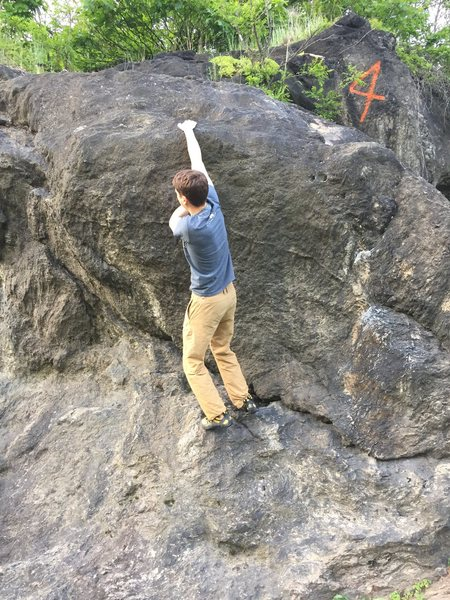 Rock Climbing Photo: Trying to find the right slopper.
