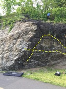 Rock Climbing Photo: You can go across the low holds or up the crack an...