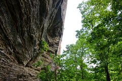 Rock Climbing Photo: Climber pulling into the steeper section.