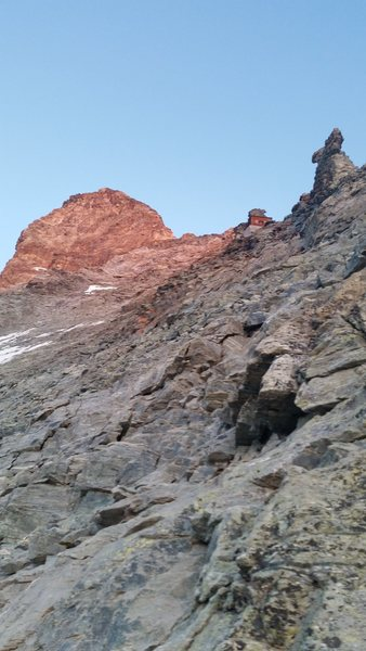 Rock Climbing Photo: Looking up the route to the Slovay hut