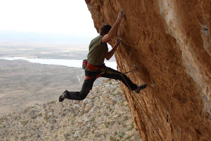 Ben Hanna On the crux move of Titanaboa.<br> PC Ian Hanna