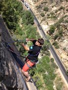 Rock Climbing Photo: Richard Duncan at the second anchor. The road is b...