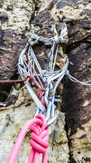 Rock Climbing Photo: Anchor station on top of Refried Brains, pitch 5. ...