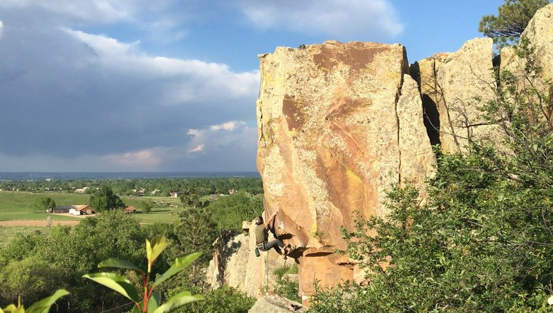 Late Afternoon on the Nemesis Tower. Working on a more direct variation of the Nemesis Arete route that involves some powerful compression moves.