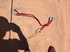 Rock Climbing Photo: Rappel anchor, I extended it with black webbing, b...