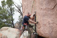 Rock Climbing Photo: Clay finishing the bolting
