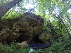 Rock Climbing Photo: Looking at lower boulder with the entry trail towa...