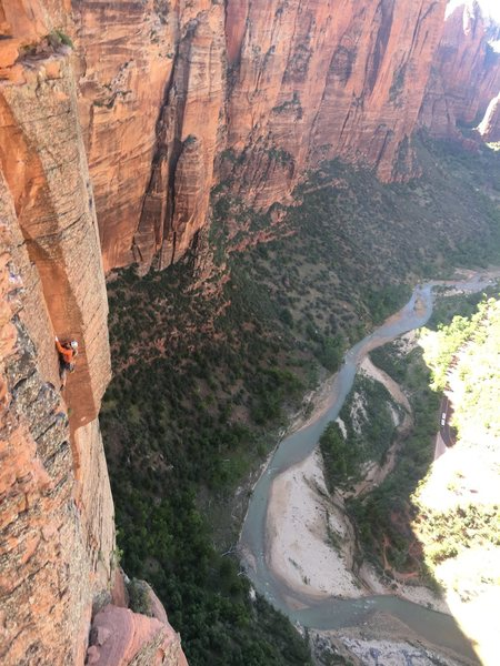 Crux pitch of North East Buttress of Angel Landing