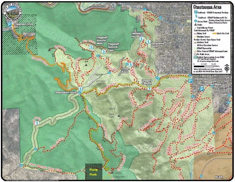 Chautauqua trail system and the recommended hiking route shown in yellow.