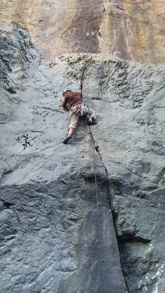 Evan Wisheropp TR soloing up the crack.