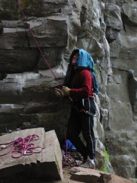 Ujahn Davisson belaying me on the first ascent. Photo Jim Opdycke.
