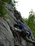 Me on the first ascent of Before the Storm. Jim Opdycke photo.