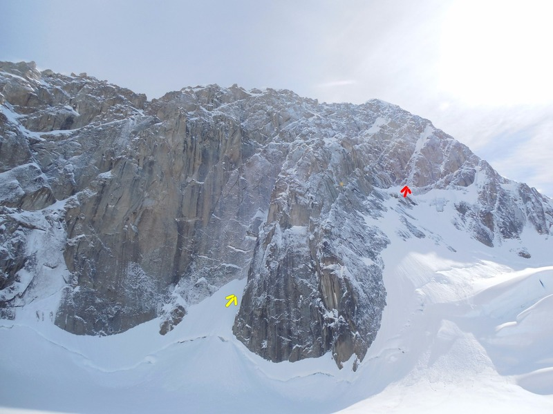 View of the peak from camp. Yellow arrow points to the start of the Colton-Leach, which climbs the large gully behind the buttress. Red arrow is at the base of the West Face Couloir.