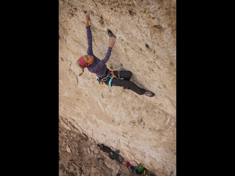 Inge Perkins looking strong just having finished the redpoint crux.  Photo by Kyle Duba.