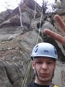 Rock Climbing Photo: First Trad Lead! Super selfie shot.