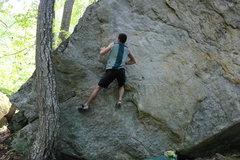 Rock Climbing Photo: Ian making his way up the flakes
